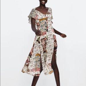 NWOT Zara Floral Print Midi Dress